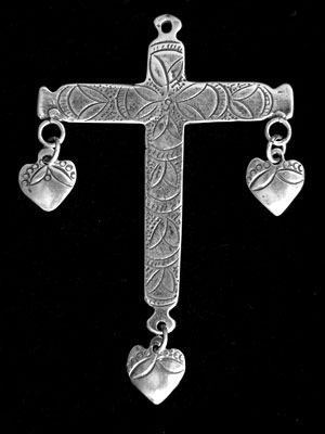 Cross with heart Dangles